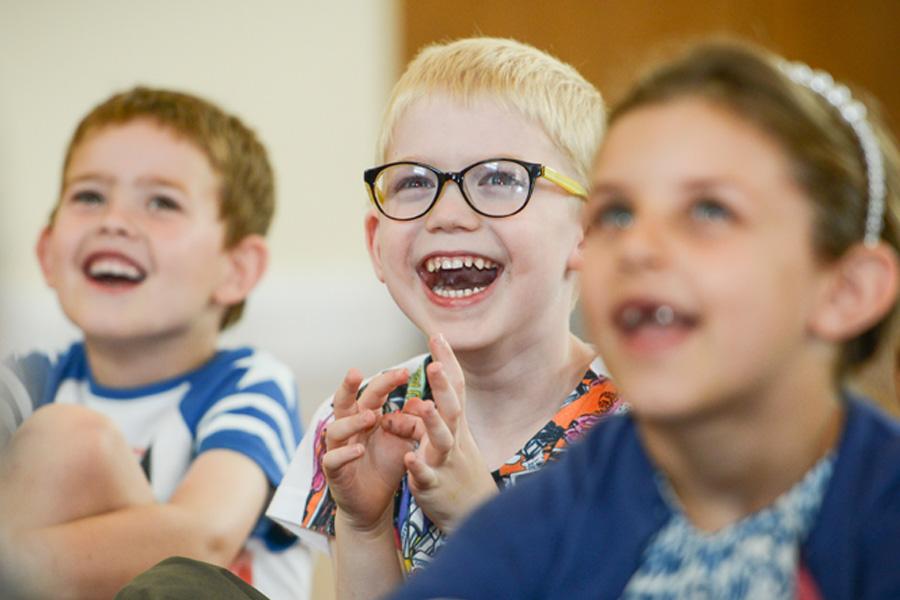 delighted children at mr banana head birthday show 2