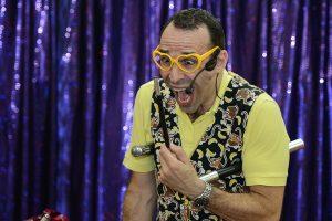 mr banana head performing comedy magic for children