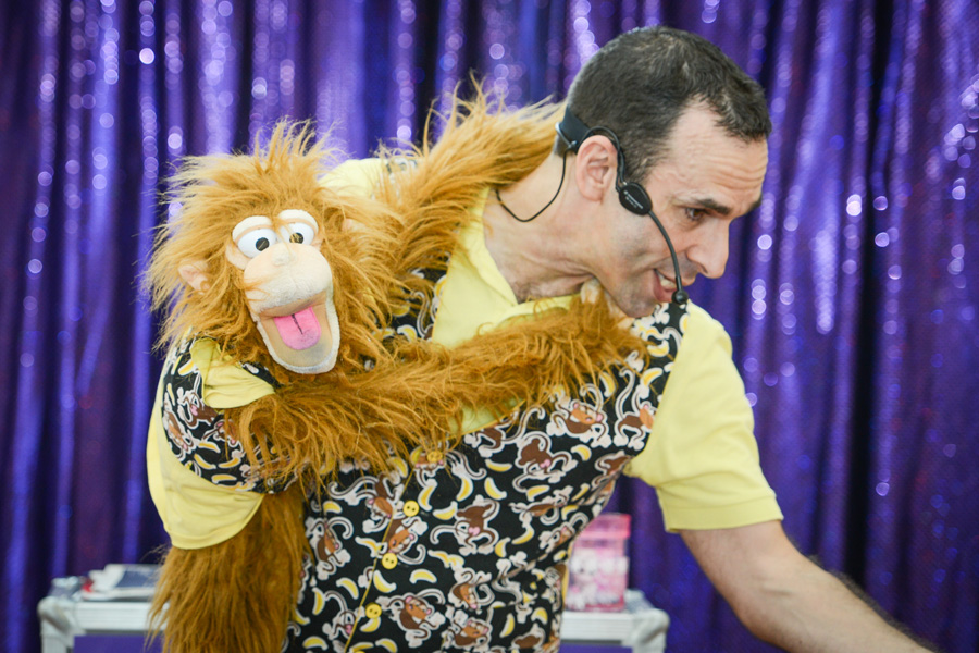 mango the monkey puppet doing comedy magic with mr banana head 2