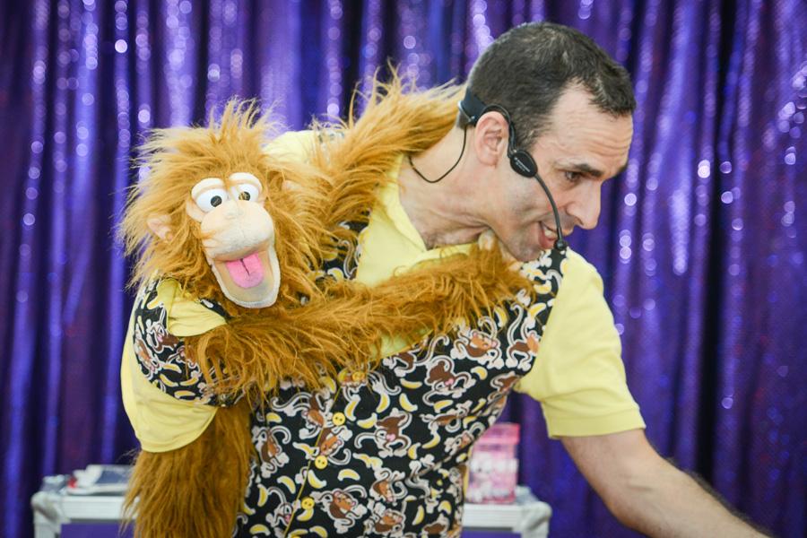 mango the monkey puppet doing comedy magic with mr banana head 2